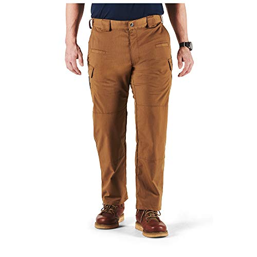 5.11 Tactical Men's Stryke Military Pants, Adjustable Waistband, Stretchable Flex-Tac Fabric, Battle Brown, 28Wx30L, Style 74369