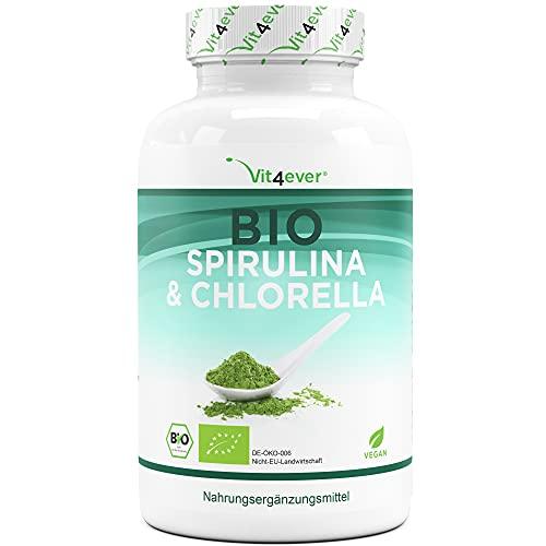 Bio Spirulina + Bio Chlorella mit 500 mg pro Pressling - 600 Tabletten- Zertifizierte Bio-Qualität - Laborgeprüft - Ohne Zusätze - Hochdosiert - Vegan