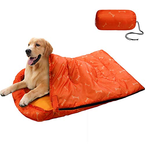 KUDES Dog Sleeping Bag Waterproof Warm Packable Dog Bed Mat with Storage Bag for Indoor Outdoor Travel Camping Hiking Backpacking (43