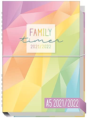 Family-Timer 2021/2022 A5 [Rainbow] Der Familien-Kalender 18 Monate: Juli 21 bis Dezember 22 | Familien-Planer für bis zu 4 Personen + hilfreiche Features & Gummiband | nachhaltig & klimaneutral