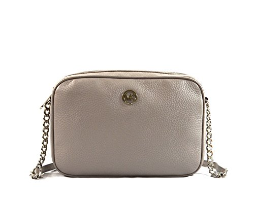Pebbled leather with polished silver tone hardware Lined interior with open slip pocket on back wall and 2 open slip pockets on the front wall Zippered top closure with Michael Kors circular lozenge on the front Single adjustable leather and chain sh...
