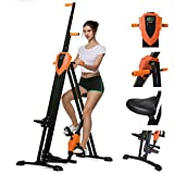ANCHEER 2 in 1 Vertical Climber Step Fitness Machines, Gym Portable Foldable Climber Bike, Home Cardio Workout Training Full Body Fitness Stepper Trainer Climber (Orange)