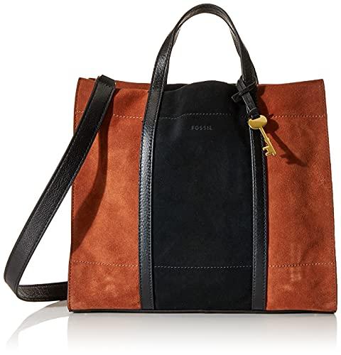 Fossil Women's Carmen Suede Leather Shopper Tote Purse Handbag, Brown/Black