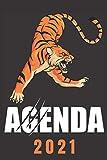 agenda 2021 tigre: agenda 2021 settimanale tiger - planner settimanale e mensile A5 - agenda da gennaio 2021 a dicembre 2021 - due pagine per settimana - regalo tigre uomo donna