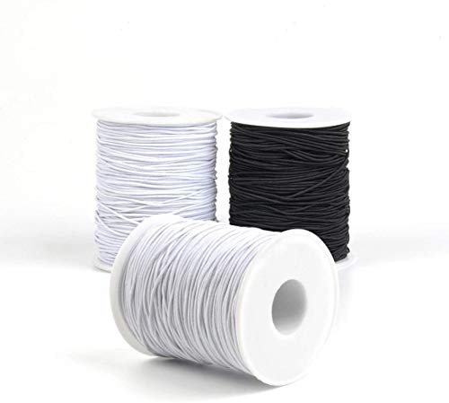 Beading Elastic String, 3 Rolls 1.0 mm Thread String Cord, 2 Rolls of White, 1 Roll of Black, 109 Yard Per Roll for Jewelry Making Bracelets Beading