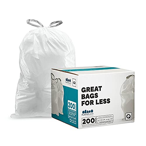 """Plasticplace Custom Fit Trash Bags │ Simplehuman Code Q Compatible (200 Count) │ White Drawstring Garbage Liners 13-17 Gallon / 40-65 Liter │ 25.25"""" x 32.75"""""""