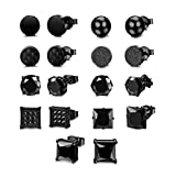 Udalyn 9 Pairs Stainless Steel Mens Stud Earrings Cubic Zirconia Round Square Carbon Fiber Earrings Ball Ear Piercing black 8mm Earrings Jewelry for Men Women