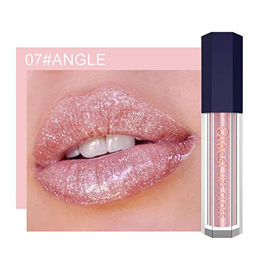 Qianren Glitter Lip Gloss Schimmernde, lang anhaltende Tasse Glänzender Antihaft-Lipgloss - Violett, Schwarzer Akt, Wassermelonenrosa