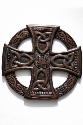 Keltisches Kreuz, Holz, Wand, Fair-Trade-Design, 35 cm, Braun