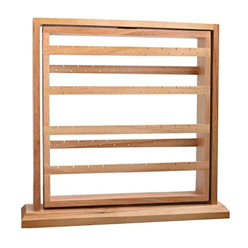 Soporte de madera para pendientes de 6 niveles, giratorio 360°, organizador de joyas para colgar pendientes, collares y pendientes