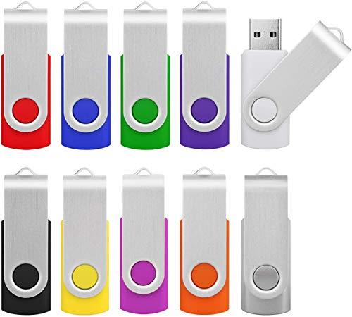 Memorias USB 16GB 2.0, KOOTION Pen Drive USB Pendrive Set 10 Piezas Flash Drive Pen Drives, Pack de 10 Unidades USB Stick Multi-Colores