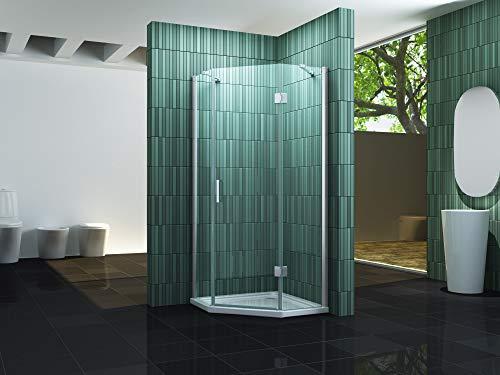 Fünfeck-Duschkabine ELBO 90 x 90 x 195 cm ohne Duschtasse