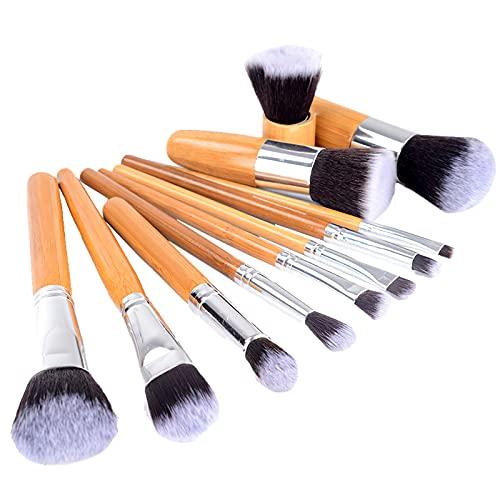 Ensemble de pinceaux de maquillage 11pcs, poignée en bambou Premium synthétique Kabuki Foundation Blending Blush Concealer Eye Face Liquid Powder Cream Cosmetic Brushes Kit