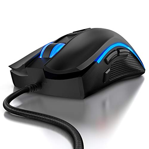 CSL - Gaming Maus PC USB - Mouse Pixart Präzisionssensor - 6 DPI-Stufen, 12 Benutzerprofile, 2 austauschbare Seitenteile 12 RGB Lichtmodi Snipertaste 500-5000 DPI Abtastrate