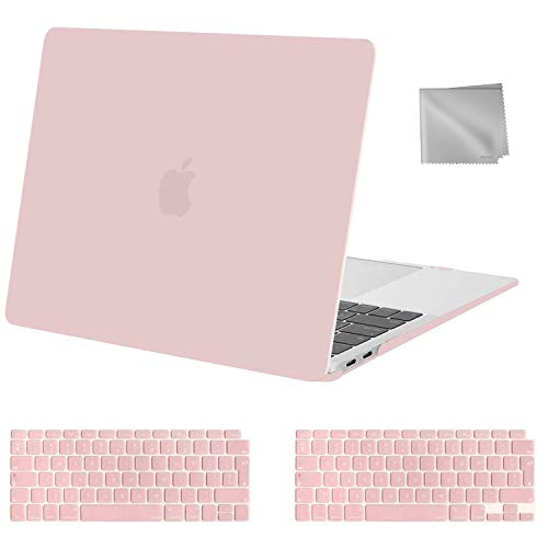 MOSISO MacBook Air 13 inch Case 2020 2019 2018 Release A2337 M1 A2179 A1932, Plastic Hard Shell Case&Keyboard Cover&Wipe Cloth Compatible with MacBook Air 13 inch with Retina Display, Rose Quartz