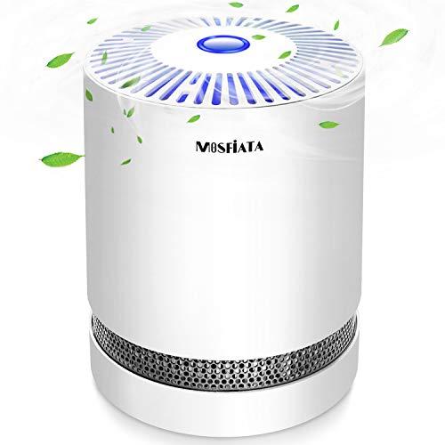 MOSFiATA Luftreiniger für Schlafzimmer mit echtem HEPA & Aktivkohlefilter, Luftreiniger für Allergien mit Nachtlicht & Ozonfrei, Luftfilter für Staub, Rauch, Pollen, Gerüche und Haustierschuppen