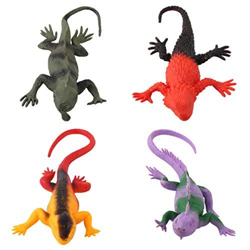 TOYANDONA Conjunto de 4 peças de estatuetas de animais de répteis tropicais, anfíbios de sangue frio, conjunto de bonecos de safári, conjunto com lagarto, presente de Natal, aniversário, festa, projetos escolares para crianças