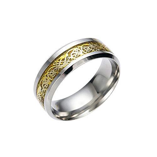 Wuayi - Juego de anillos de acero inoxidable de titanio para hombre y mujer, diseño de dragón plateado y dorado 12# dorado
