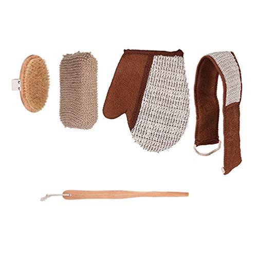 EXCEART 4 Pcs Corps Brosse Ensemble Naturel Bambou Coton Lin Brosse de Douche Laveur Éponge Longue Serviette Gants pour Cellulite Lymphatique Spa