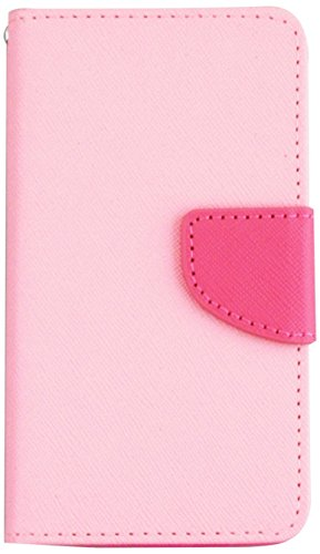 Asmyna MyJacket Wallet with Card Slot for LG D500 Optimus F6 - Retail Packaging - Pink Pattern/Hot Pink