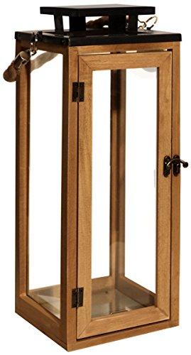Dekovita Gartenlaterne 42cm Holz-Laterne inkl. Kordel Henkel Windlicht Deko Kerzenhalter hitzebeständiges Temperglas