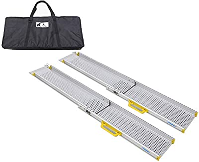 Ruedamann 4' Wheelchair Ramp Aluminum Portable Telescoping Retractable Lightweight Ramp, Sold in Pair, 6.5 Inch Inside Width 4 ft (MR107-4)