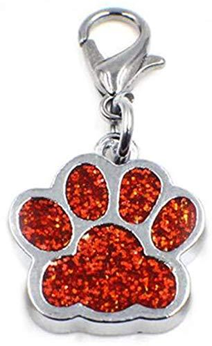 MNMXW jewelleryjoy Dije con Cierre de Clip de Esmalte Rojo Brillante con Estampado de Pata de Perro para Pulsera de eslabones