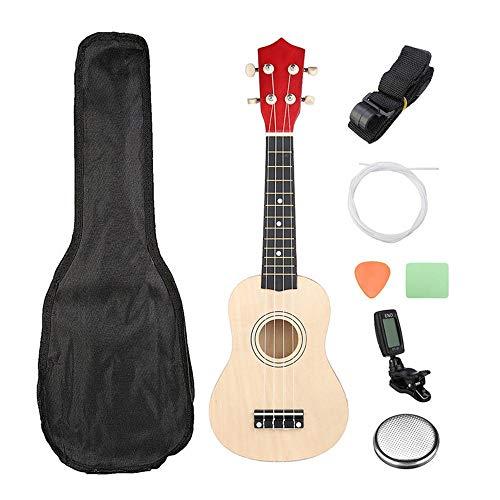 Jklt Gitarre Kleine Holzgitarre 21 Zoll-Farb-Sopran-Ukulele Uke-Steel-Gitarre Mit Bund 12 Mit Dem Tuner Trägt Einfaches und Klassisches Design (Farbe : As Shown, Size : 21inch)