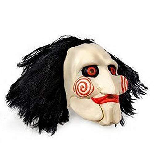 JIGSAW SAW Maske mit Kunsthaaren - perfekt für Fasching, Karneval & Halloween - Kostüm für Erwachsene - Einheitsgröße