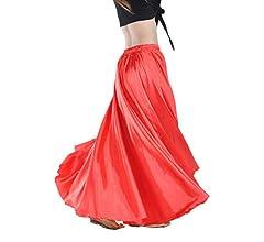 Falda Larga Color Sólido Satén Mujer Falda De Danza De Vientre ...