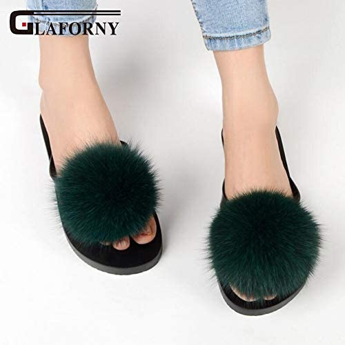 PNX Glaforny femmes Flip Flops Flops Flops Real Fox Fur Slippers Fluffy Fur Pompom Slides Flat Indoor Slippers Cute Ladies Décontracté Beach Sandal ecc