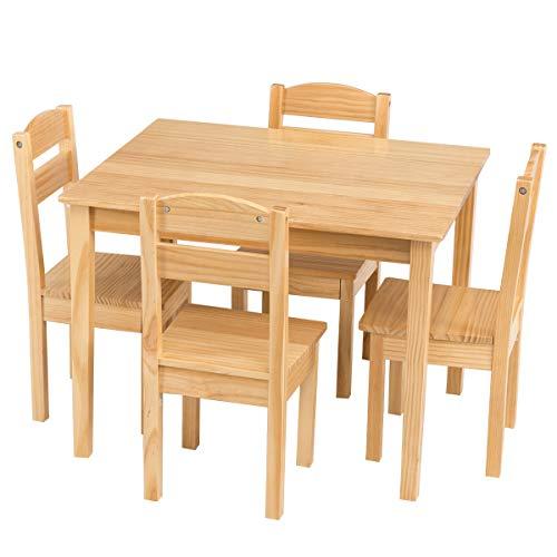 Costway Ensemble Table et 4 Chaises Enfant en Bois pour Travailler,Manger,Dessiner,Jouer avec 4 Chaises 66 x 56 x 48CM (Forêt)