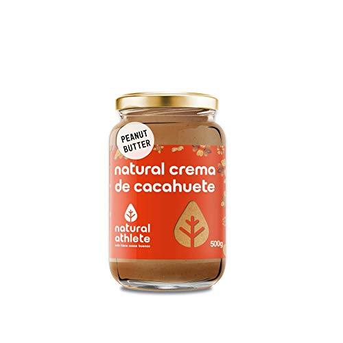 Crema de Cacahuete Natural Athlete 100% Natural, Sin Azúcar ni Sal, Vegana, Sin Aceite de Palma, Sin Gluten, Sin Lactosa | Peanut Butter | Mantequilla Cacahuete Textura Suave - 500g