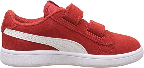 Puma Unisex-Kinder Smash v2 SD V Inf Sneaker, Rot (High Risk Red White), 22 EU