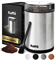 Image of Kaffe KF2020 Electric Coffee Grinder - Stainless Steel - 3oz Capacity with Easy On/Off Button. Cleaning Brush Included!: Bestviewsreviews