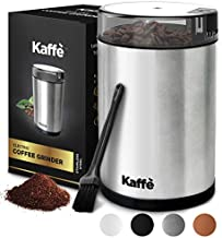 Kaffe Electric Coffee Grinder - Stainless Steel - 3oz Capacity with Easy On/Off Button. Cleaning Brush Included. Grind Fresh Coffee Beans Every Time!