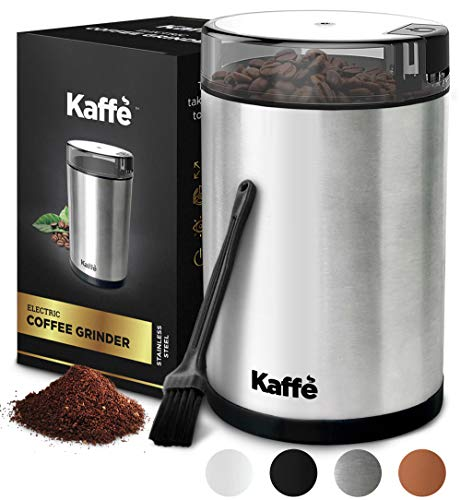 Kaffe Electric Coffee Grinder - Stainless Steel - 3oz Capacity with Easy On/Off Button. Cleaning...