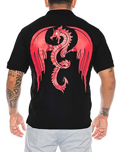Raff & Taff heren Dragon poloshirts draak poloshirt korte mouwen vuur spuckende draak