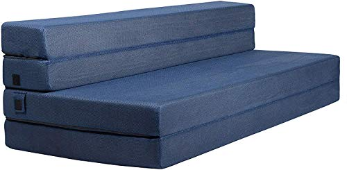 Milliard Tri-Fold Foam Folding Mattress and Sofa Bed for Guests - Queen 78x58x4.5 Inch (Blue)