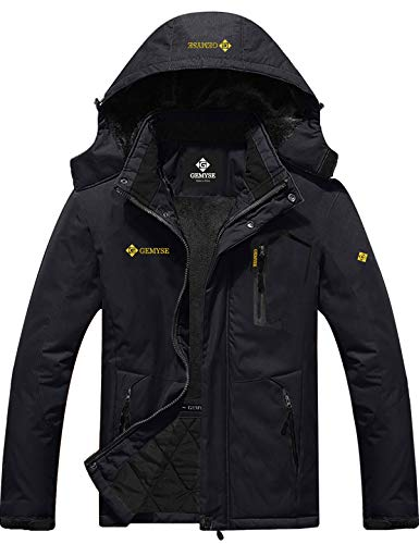 GEMYSE Men's Mountain Waterproof Ski Snow Jacket Winter Windproof Rain Jacket (Black,S)
