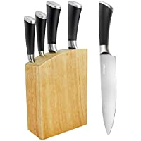 Jiaedge Professional 6-Piece Germany High Carbon Stainless Steel Cutlery Knife Set with Wooden Block