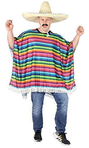 Foxxeo Mexikaner Poncho für Erwachsene Kostüm für Damen und Herren Fasching Party Karneval