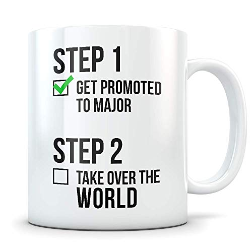 Major Promotion Gift for Men and Women - New Military Ranks Promoted Congratulations Graduation Coffee Mug for Army, Navy or Air Force - Great Congrats Cup