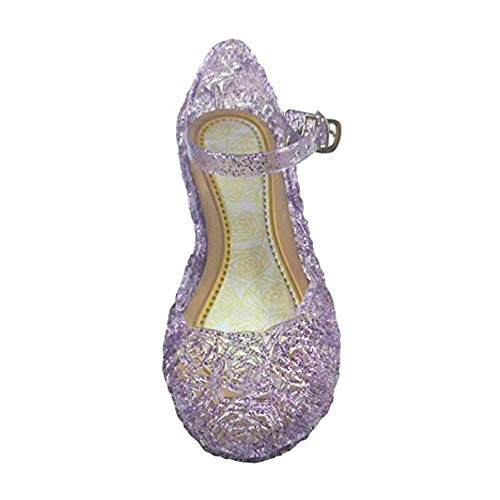 Yous-us Children's Princess Shoes£¬Cinderella Girls Soft Crystal Plastic Shoes£¬Cosplay Jelly Shoes Purple