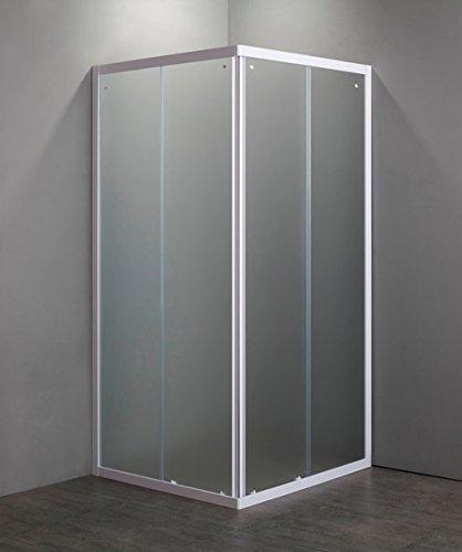 GRANISUD douchecabine van gehard kristal, 4 mm opening, 2 zijpanelen wit, 80 x 80 cm, hoogte 185 cm