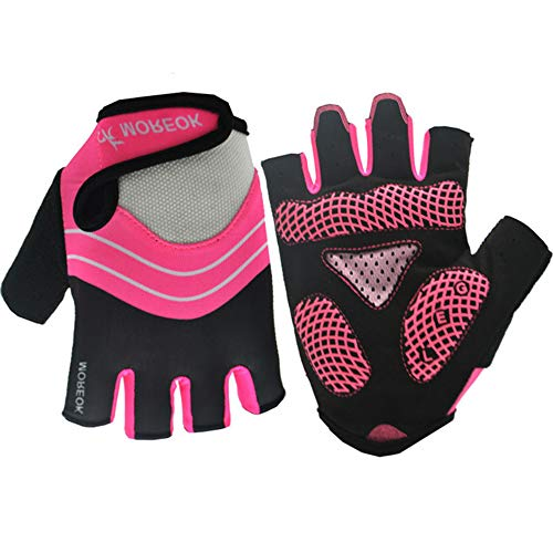 Cycling Gloves for Women,Dirt Bike Gloves Men Motorcycle Mountain MTB Dirt Riding Road Gel Padded Moto Half Finger Shockproof Absorbing Anti Slip Summer,Rose Red,M 8-8.5cm