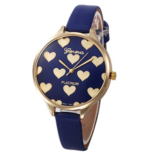 Xinantime Relojes Mujer,Xinan Reloj de Pulsera Analógico de Cuarzo Cuero Imitación (Azul)
