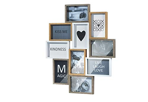 Kobolo Bilderrahmen-Collage - Heart- Holz - weiß Natur - 10 Bilder - 59x47 cm