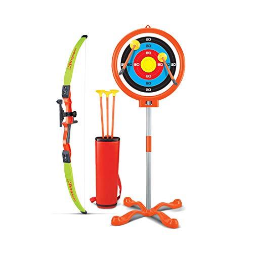 Dittzz Juego de Arco y Flecha para Niños, Juguete de Tiro con Arco para Niños, con 3 Ventosa Flechas, 1 Arco, 1 Carcaj y 1 Objetivo de Pie