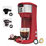 Coffee Machine,2 IN 1 Strength-Controlled and Self Cleaning Function, Single Serve Coffee Maker For espresso Pod & Ground Coffee, KINGTOO Coffee Brewer with Compact Design 6 to 14 oz Brew Sizes (Red)